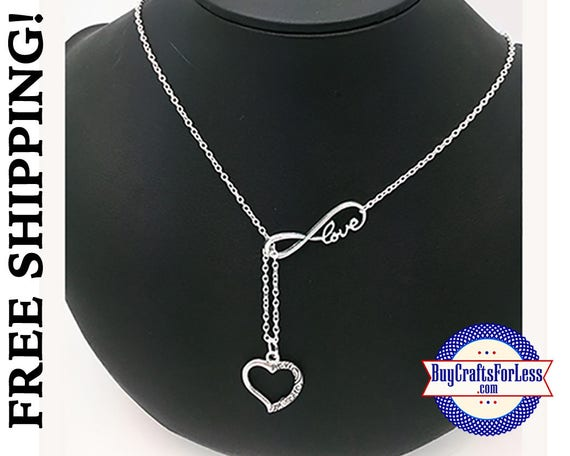 "Infinity HEART Necklace, 24"", Gift Box Avail. - Best Seller +FREE SHIPPING & Discounts*"