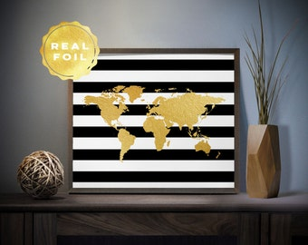 World map decor etsy striped world map real gold foil art print 4 x 6 5 x 7 gumiabroncs Choice Image
