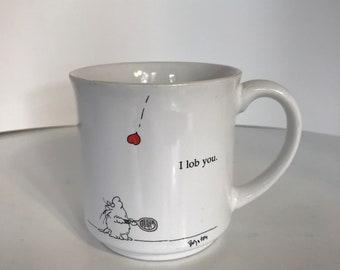 "Vintage Boynton Mug ""I lob you"" Tennis Mug Coffee Cup - Recycled Paper Products Japan"