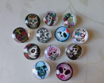 x 12 mixed round snaps pattern No. 18 mm (for jewelry) skull glass 2