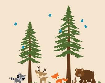 Pine Tree Wall Decal Childrens Woodlands Reusable Wall Decal - 726