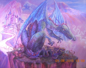 Blue Dragon and Purple Cliff Lithograph / Foil wall hanging