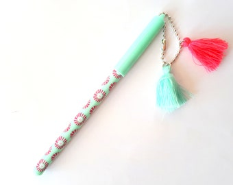 Cute mint / pink pen with 2 hanging tassels | pendants