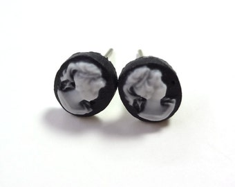 Tiny White and Black Cameo Earring Posts