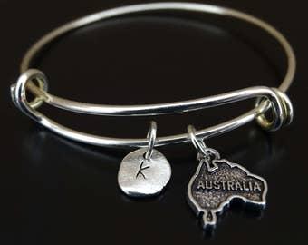 Australia Bracelet, Australia Bangle, Australia Charm, Australia Pendant, Australia Jewelry, Australia Map Bracelet, Australia Map Jewelry