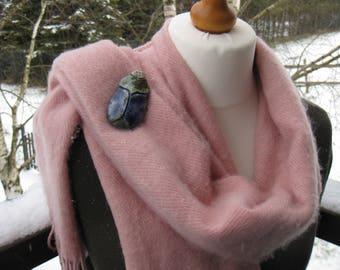 Blue and green Scarab brooch raku fired clay brooch scarab gift for women, gift for mum shield brooch scarab pin