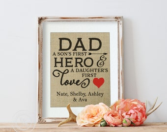 Dad Christmas Gift, Dad a Son's Fist Hero, A Daughters first love, Gift for Dad from Daughter, Gift for Dad from Son, Christmas Gift for Dad