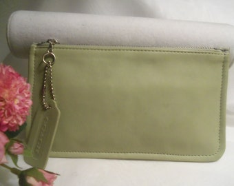 Rare Almost Mint Vintage NEVER USED Spring Green Genuine COACH Leather Zipper Case Mini Purse Cosmetic Makeup Pouch Bag- Birthday Gift Her