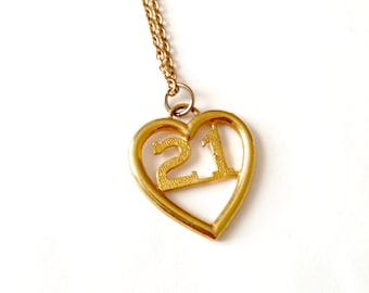 Vintage KJL 21 Heart Necklace // KJL Jewelry // K.J.L Kenneth Lane Signed 21st Birthday Heart Pendant