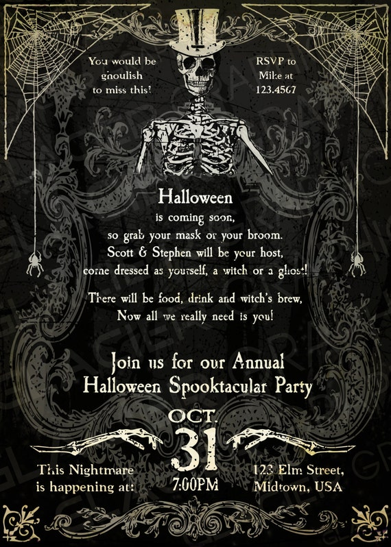 Halloween Skeleton Invitation Template Vintage Skeleton Party