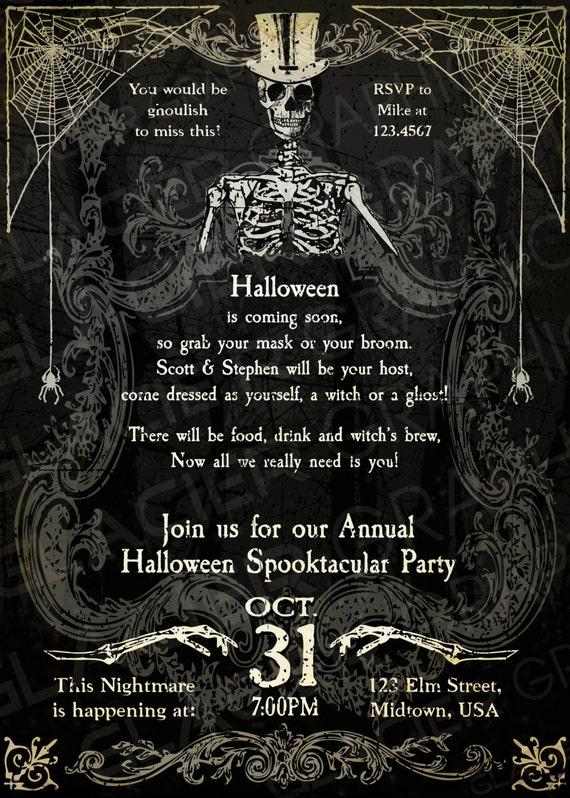 Spooky Halloween Skeleton Invitation Template   Spooky Skeleton Party  Invitation   Customized Halloween Invitation Printable Halloween Witch