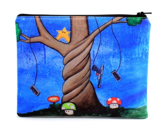 The Tree of Extra Life - Zipper Pouch - Nintendo Tree with Mushrooms, Duck Hunt Controller, Invincibility Star - Art by Marcia Furman