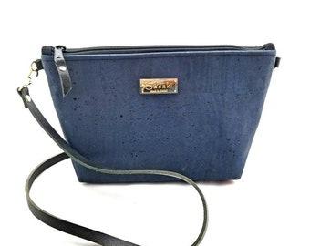 MTO - Blue Cork Bag - Crossbody Purse -leather strap