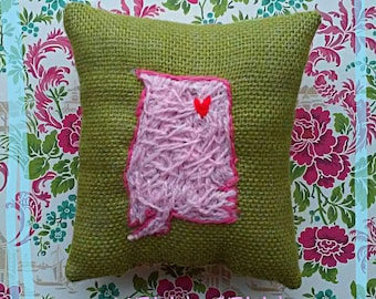 State Pillow Mini Hand Embroidered Crewel Custom Made Gift Idea YelliKelli