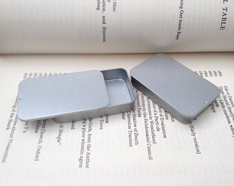 40ml Sliding Lid Tins, Rectangular Metal Tins, Color Silver, Blank