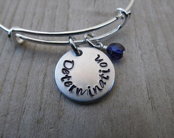 "Inspiration Bracelet- Hand-Stamped ""Determination"" Adjustable Bangle Bracelet with an accent bead in your choice of colors"