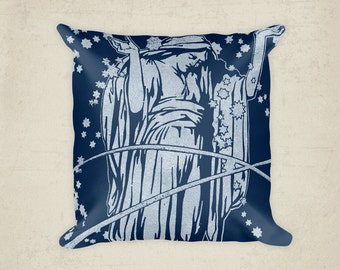 Celestial Lady Pillow,  Home Decor Pillow,  Blue Cushion Cover, Woman stars sky night , Art Deco, Art Nouveau
