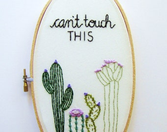 Cactus Wall Art, Floral wall Art, Punny Gifts, Gifts for your BFF, Cactus Embroidery Art, Personalized Embroidery Gift, Cactus Decor