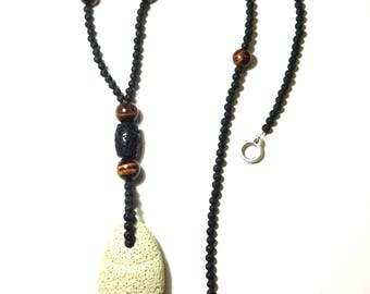 Lava Necklace Tiger Eye Gem Beads Santorini Volcanic Black Lava Rock Lava Fish Pendant Long Necklace Gift For Her Handmade Greek Jewelry