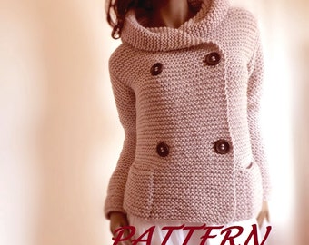 Knitting Pattern Hooded Womens Jacket Sweater Easy Knit Digital PDF Pattern in ENGLISH