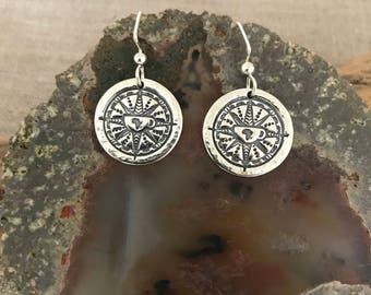 Wanderlust Compass Silver Earrings