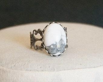 White Howlite Ring White Stone Ring Antiqued Silver Filigree Ring White Ring Blue Gemstone Ring Blue Oval Ring Blue Howlite Ring