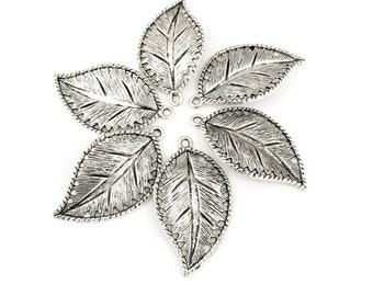 6 large Leaves charms, silver tone metal, 23mm x 42mm # CH 673