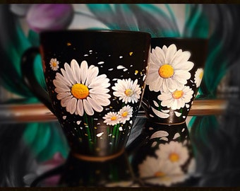 Daisy Mug - 1 Hand Painted Ceramic Mug
