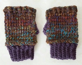 Crochet Handspun Alpaca Wrist Warmers - Brown / Purple