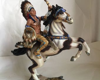 Vintage Hamilton collection Strength of the Wolf Warriors Quest Sculpture  Native American decor 1996