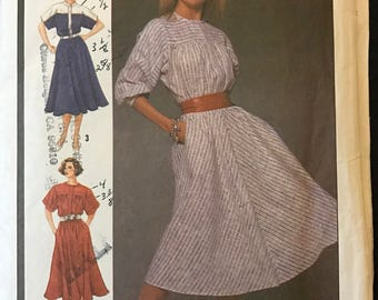 Simplicity 6740 - 1980s Yoked Dress with Blouson Bodice and Flared Skirt - Size 12 Bust 34