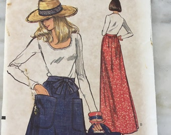 "vintage Vogue 8815 pattern, Misses wrap around skirt sewing pattern, size Large, waist 30-32,""  Hip 40-42"", 1980s skirt fashion"