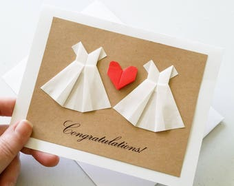 Congratulations Wedding Card: Handmade Lesbian Wedding Card - 3D Heart - Wedding - White Dress - Mrs & Mrs - Minimalist - Origami Heart Card