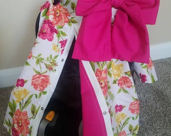 Carseat Canopy Flower Shocking Pink girl infant carseat cover