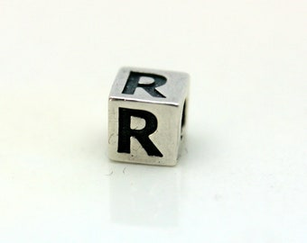 Sterling Silver Alphabet R Block Cube Square Bead 4mm