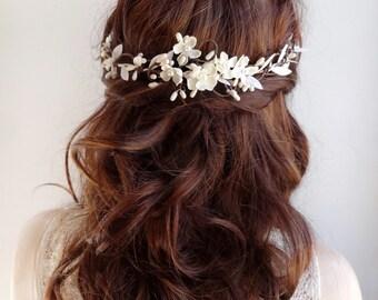 bridal hair vine, bridal hair piece, wedding headpiece, ivory hair comb, bridal hair accessories, ivory hair flower, bridal hair flower, #24