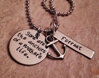 Sons are the anchors of a mothers life personalized hand stamped necklace mom grandma new mom