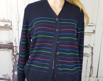 Vintage Pendleton Cardigan Oversized Cardigan Blue Sweater Button  up Sweater Women's size L Large