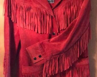 Vintage 80s Western leather fringe jacket suede BoHo hippie cowgirl Winslit sz 13