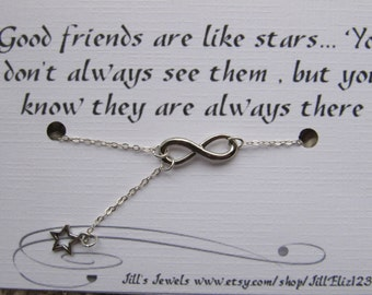Best friend Friendship Necklace - Best friend gift - Infinity and Star Charm Necklace - Bridesmaid Gift - Friends Forever - Charm Necklace
