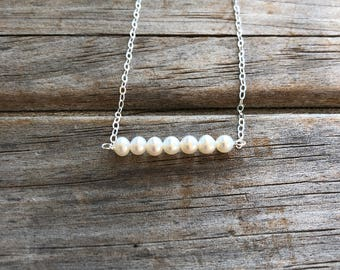 Freshwater Pearl Bar Necklace, Bar Necklace, Sterling Silver necklace, Beaded Pearl Necklace, Classy Necklace, Christmas Gift, Gift for her
