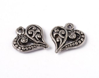25 pieces Antique Silver Filigree Heart Charms