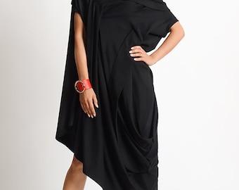 NEW Asymmetric Maxi Dress/Black Oversize Tunic/Loose Long Short Tunic Dress/Fallen Sleeve Black Dress/Black Maxi Dress/Extravagant Dress