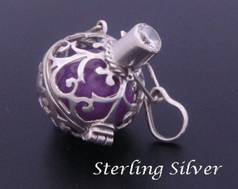 Sterling Silver Harmony Ball with Brilliant CZ Stone & Purple Chime Ball  925 Silver Cage | Bola Necklace, Pregnancy Gift, Angel Caller 525