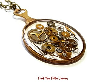 antique optical lens steampunk necklace with watch gears