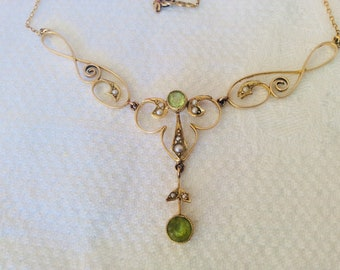 14K yellow gold Victorian lavaliere with peridot stones and seed pearls # 326 S