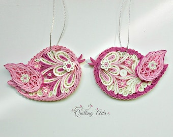 Set of 2 birds-Quilled love birds-Paper ornament-Quilling paper-pink birds-Christmas ornament-Valentines day