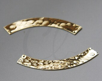 One Piece Premium Gold Plated Brass Base Hammered Crescent Link - Geometry - 50.5x14mm (3080C-N-102)