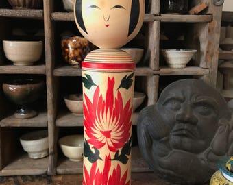 Vintage Japanese wood hand made Tohoku kokeshi doll signed