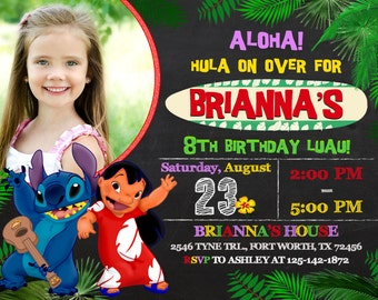 Lilo and Stitch Invitation, Lilo and Stitch Birthday, Lilo and Stitch Party